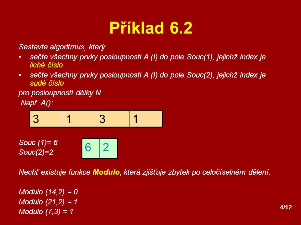 Příklad 6.2 3 1 6 2 Sestavte algoritmus, který