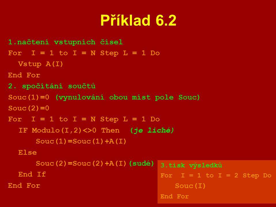 Příklad 6.2 1.načtení vstupních čísel For I = 1 to I = N Step L = 1 Do