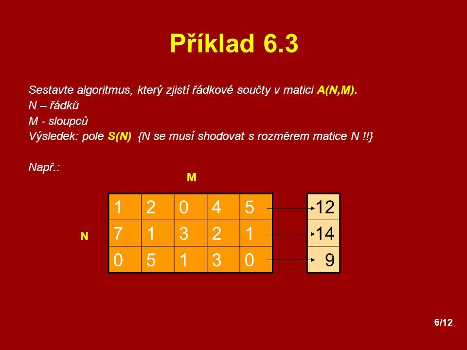 Příklad 6.3 Sestavte algoritmus, který zjistí řádkové součty v matici A(N,M). N – řádků. M - sloupců.