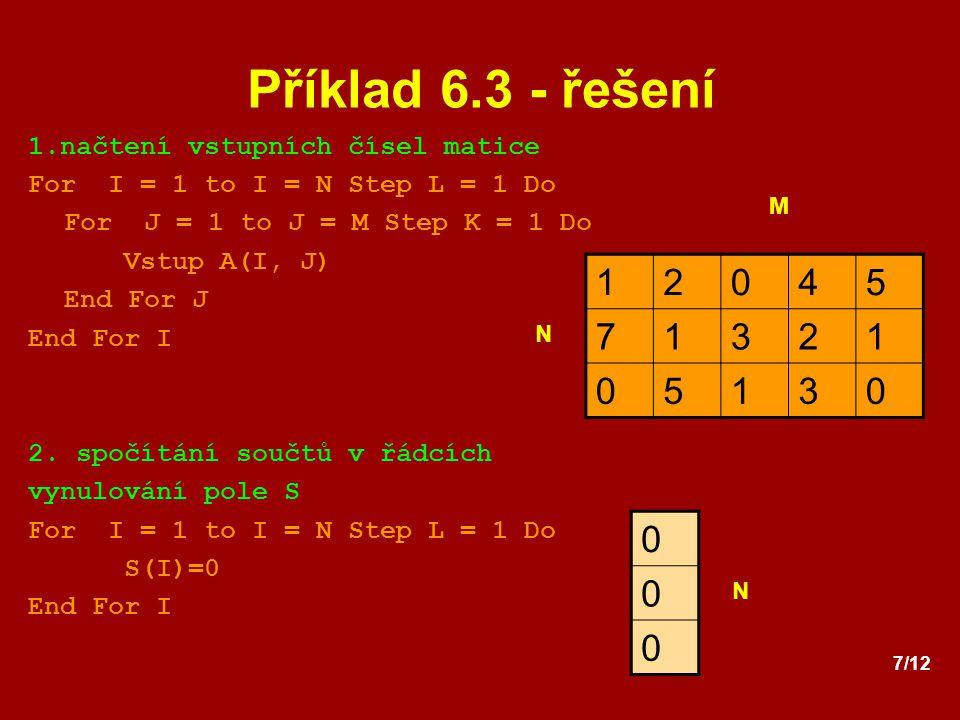 Příklad 6.3 - řešení 1 2 4 5 7 3 1.načtení vstupních čísel matice