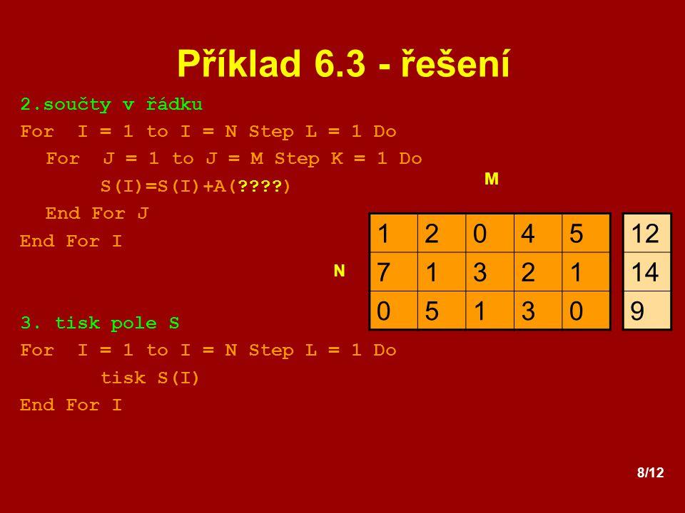 Příklad 6.3 - řešení 1 2 4 5 7 3 12 14 9 2.součty v řádku