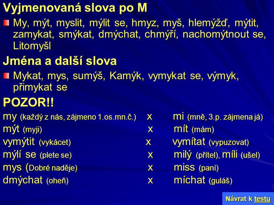 Vyjmenovaná slova po M Jména a další slova POZOR!!