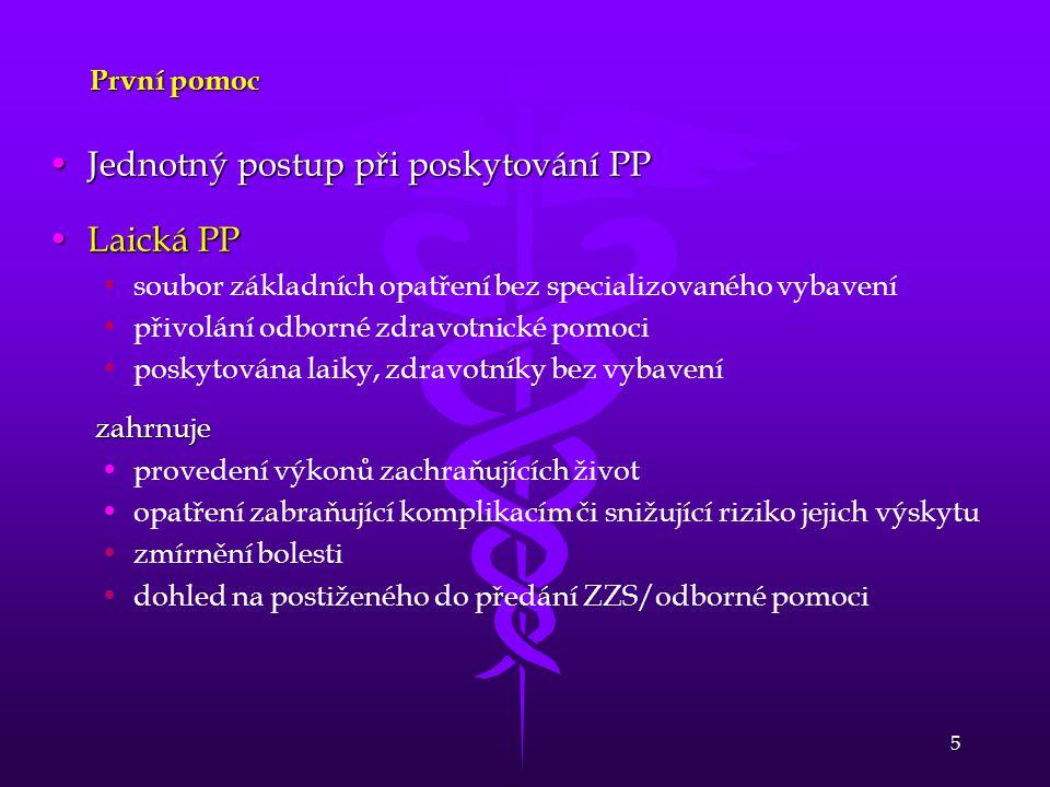 Jednotný postup při poskytování PP Laická PP