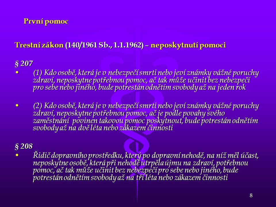 První pomoc Trestní zákon (140/1961 Sb., 1.1.1962) – neposkytnutí pomoci. § 207.