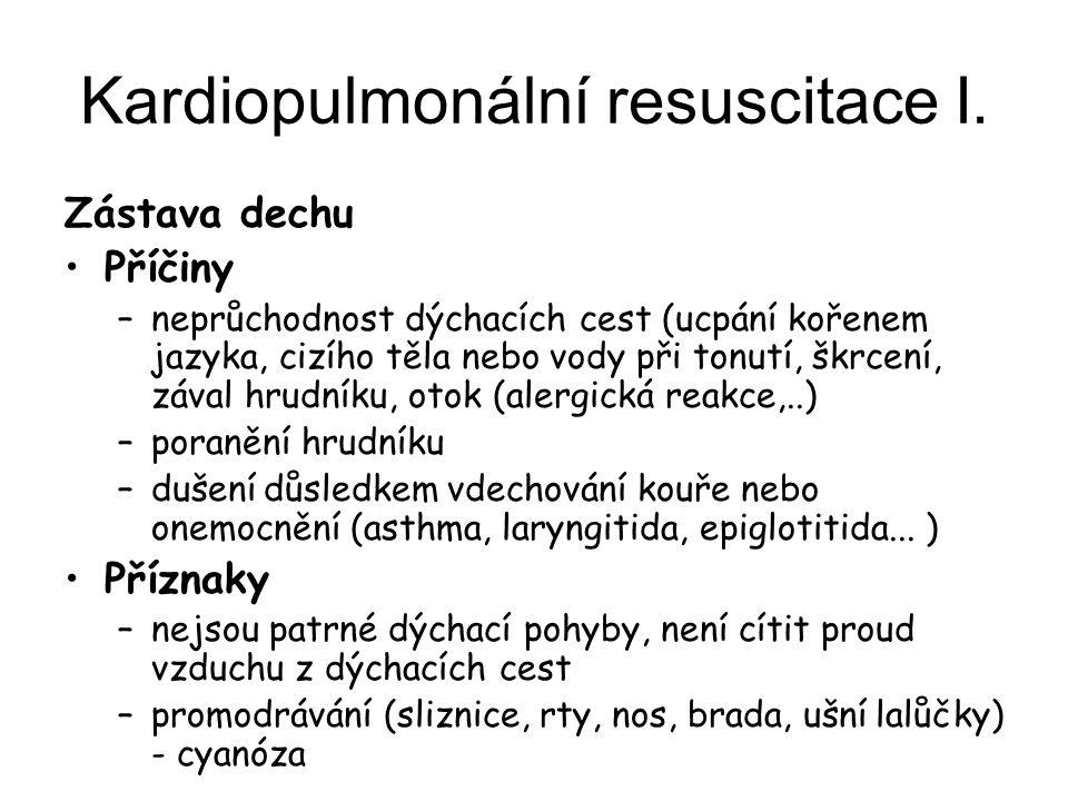 Kardiopulmonální resuscitace I.