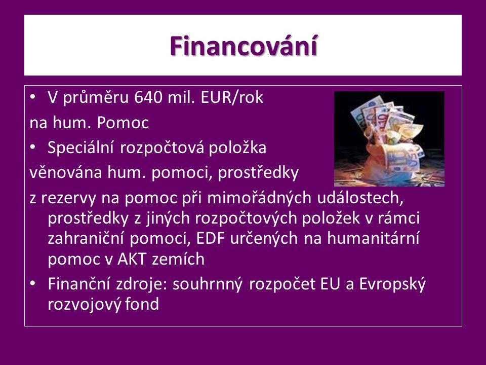 Financování V průměru 640 mil. EUR/rok na hum. Pomoc