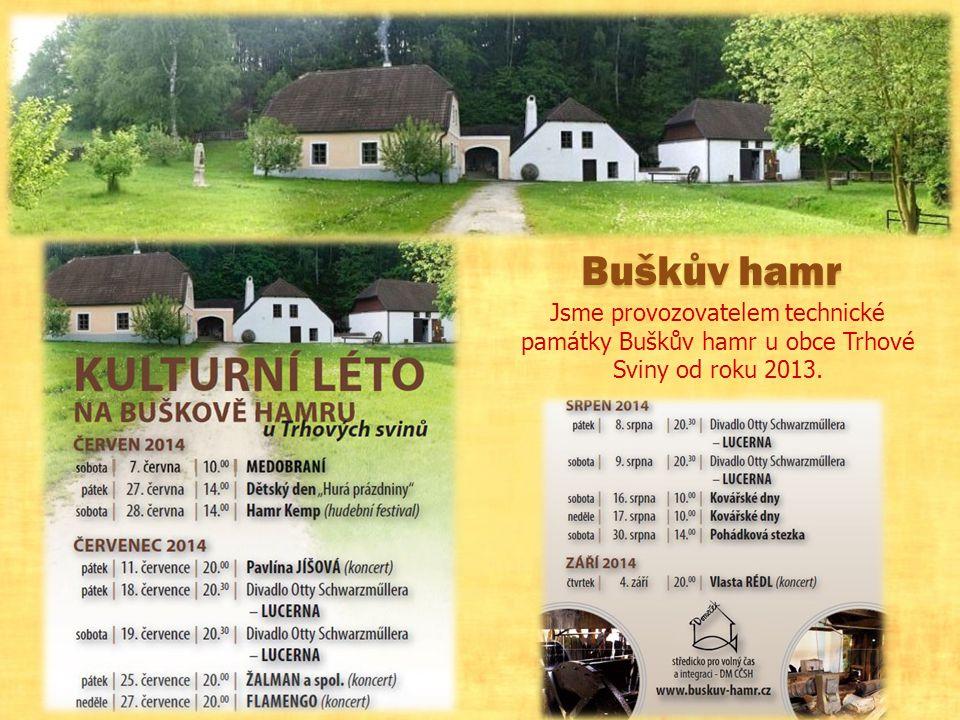 Buškův hamr Jsme provozovatelem technické památky Buškův hamr u obce Trhové Sviny od roku 2013.