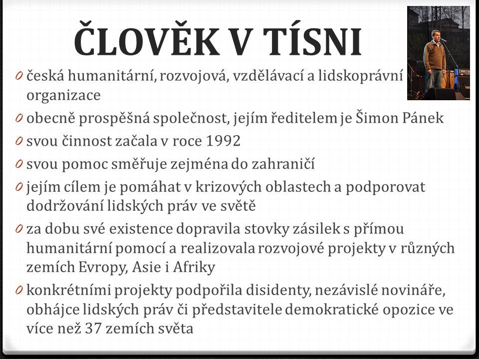 ČLOVĚK V TÍSNI česká humanitární, rozvojová, vzdělávací a lidskoprávní organizace. obecně prospěšná společnost, jejím ředitelem je Šimon Pánek.