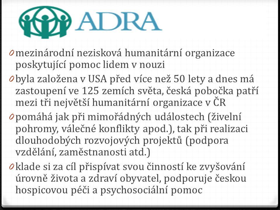 mezinárodní nezisková humanitární organizace poskytující pomoc lidem v nouzi