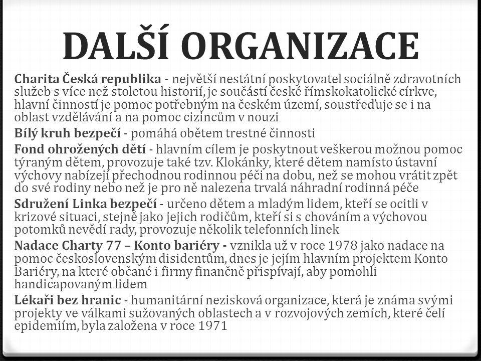 DALŠÍ ORGANIZACE