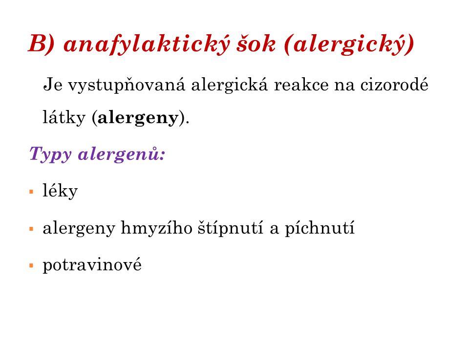 B) anafylaktický šok (alergický)