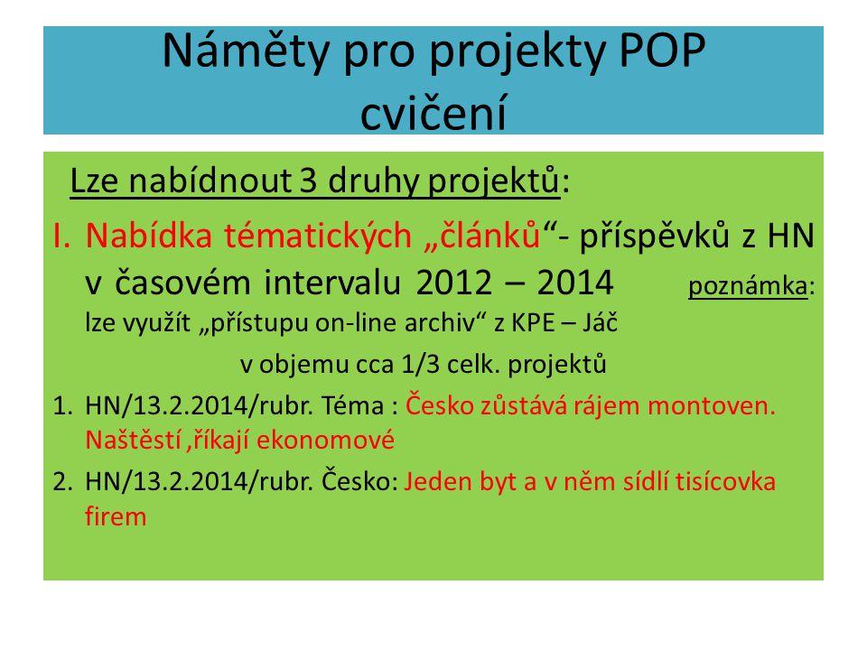 Náměty pro projekty POP cvičení