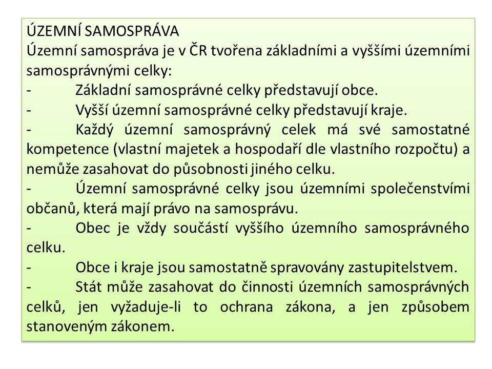 ÚZEMNÍ SAMOSPRÁVA Územní samospráva je v ČR tvořena základními a vyššími územními samosprávnými celky: