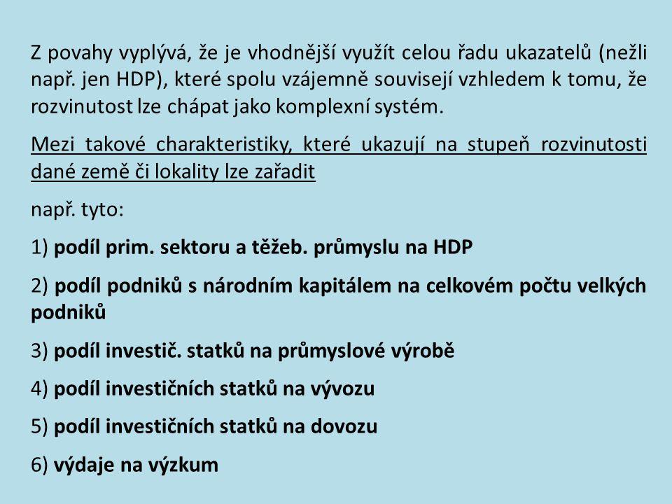 Z povahy vyplývá, že je vhodnější využít celou řadu ukazatelů (nežli např. jen HDP), které spolu vzájemně souvisejí vzhledem k tomu, že rozvinutost lze chápat jako komplexní systém.