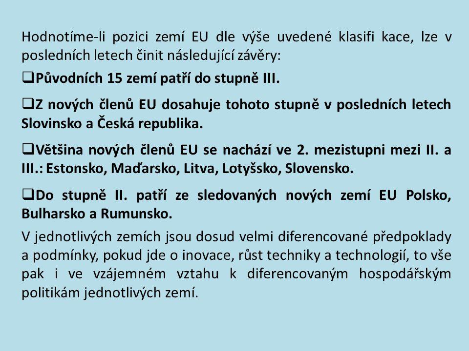 Hodnotíme-li pozici zemí EU dle výše uvedené klasifi kace, lze v posledních letech činit následující závěry: