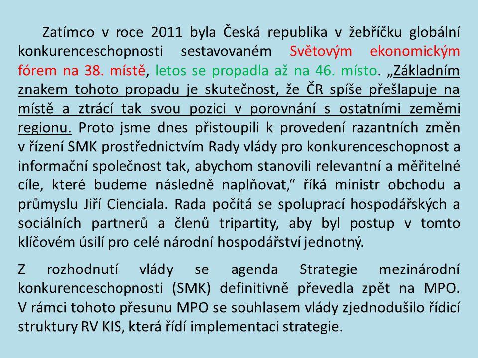"""Zatímco v roce 2011 byla Česká republika v žebříčku globální konkurenceschopnosti sestavovaném Světovým ekonomickým fórem na 38. místě, letos se propadla až na 46. místo. """"Základním znakem tohoto propadu je skutečnost, že ČR spíše přešlapuje na místě a ztrácí tak svou pozici v porovnání s ostatními zeměmi regionu. Proto jsme dnes přistoupili k provedení razantních změn v řízení SMK prostřednictvím Rady vlády pro konkurenceschopnost a informační společnost tak, abychom stanovili relevantní a měřitelné cíle, které budeme následně naplňovat, říká ministr obchodu a průmyslu Jiří Cienciala. Rada počítá se spoluprací hospodářských a sociálních partnerů a členů tripartity, aby byl postup v tomto klíčovém úsilí pro celé národní hospodářství jednotný."""
