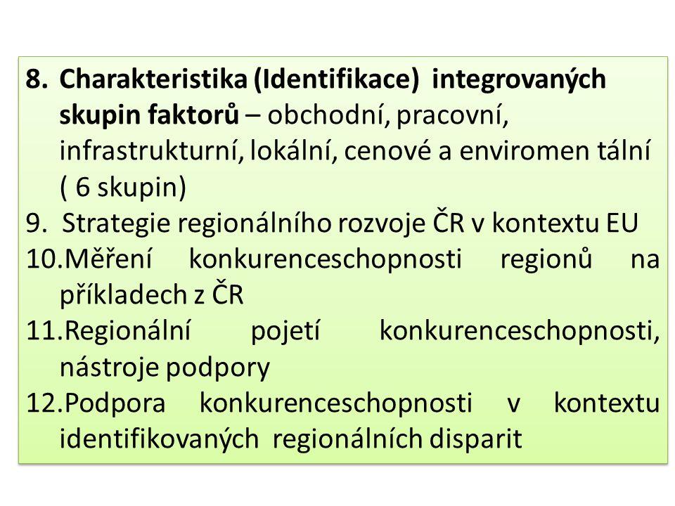 Charakteristika (Identifikace) integrovaných skupin faktorů – obchodní, pracovní, infrastrukturní, lokální, cenové a enviromen tální ( 6 skupin)
