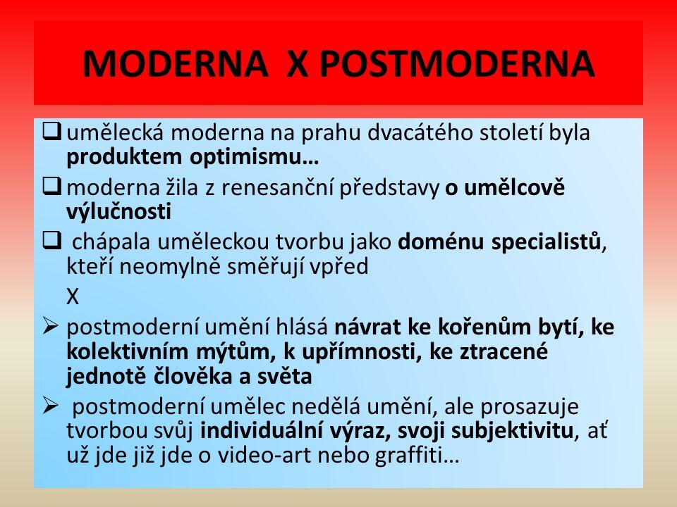 MODERNA X POSTMODERNA umělecká moderna na prahu dvacátého století byla produktem optimismu…