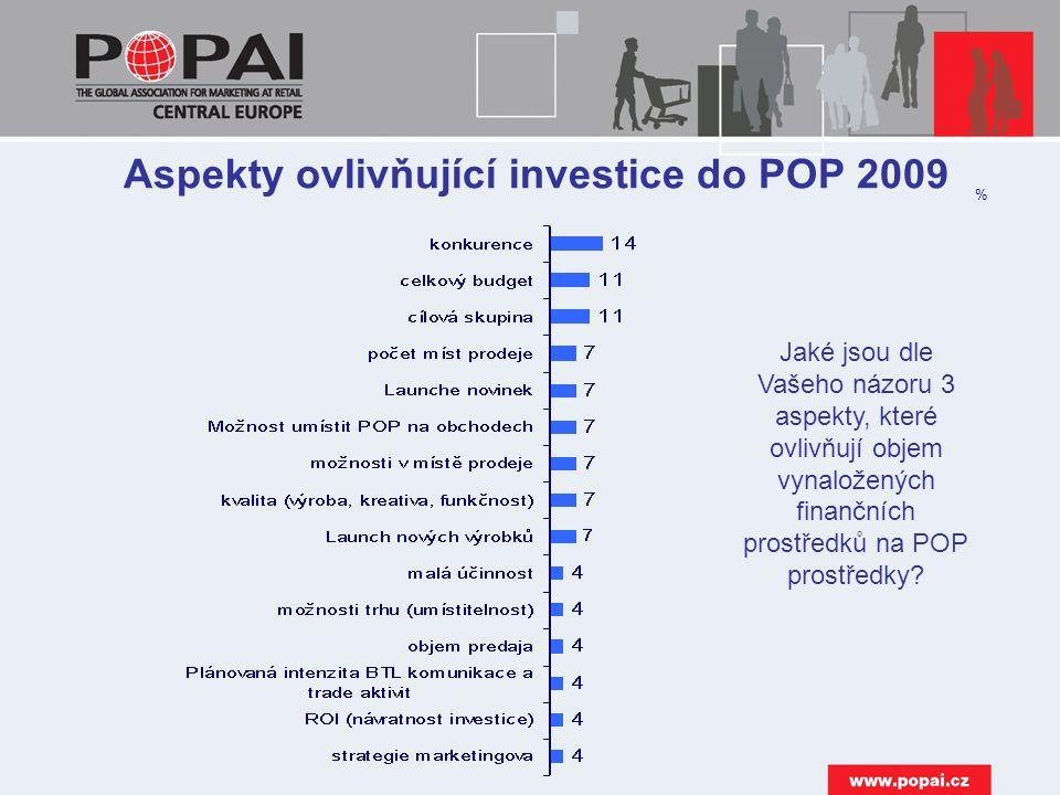 Aspekty ovlivňující investice do POP 2009
