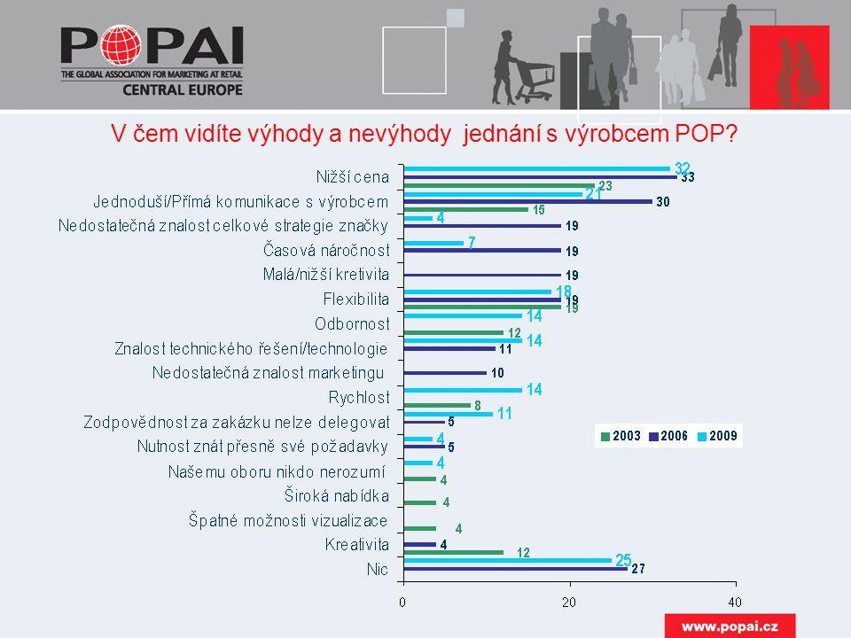 V čem vidíte výhody a nevýhody jednání s výrobcem POP