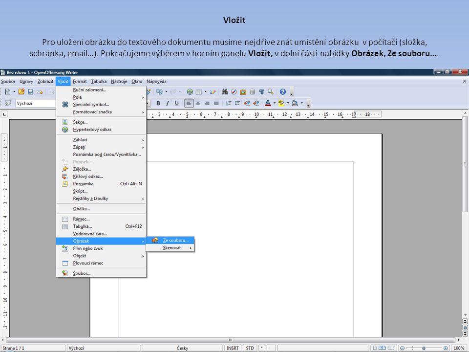Vložit Pro uložení obrázku do textového dokumentu musíme nejdříve znát umístění obrázku v počítači (složka, schránka, email…).