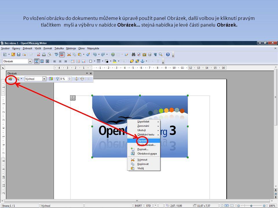Po vložení obrázku do dokumentu můžeme k úpravě použít panel Obrázek, další volbou je kliknutí pravým tlačítkem myši a výběru v nabídce Obrázek… stejná nabídka je levé části panelu Obrázek.