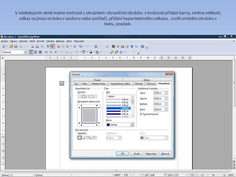 V následujícím okně máme možnost s obrázkem: ohraničení obrázku s možností přidání barvy, změna velikosti, odkaz na jinou stránku v souboru nebo počítači, přidání hypertextového odkazu, zvolit umístění obrázku v textu, popisek.