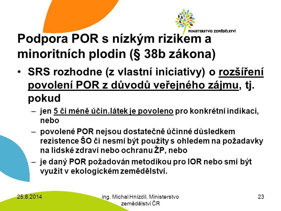 Podpora POR s nízkým rizikem a minoritních plodin (§ 38b zákona)