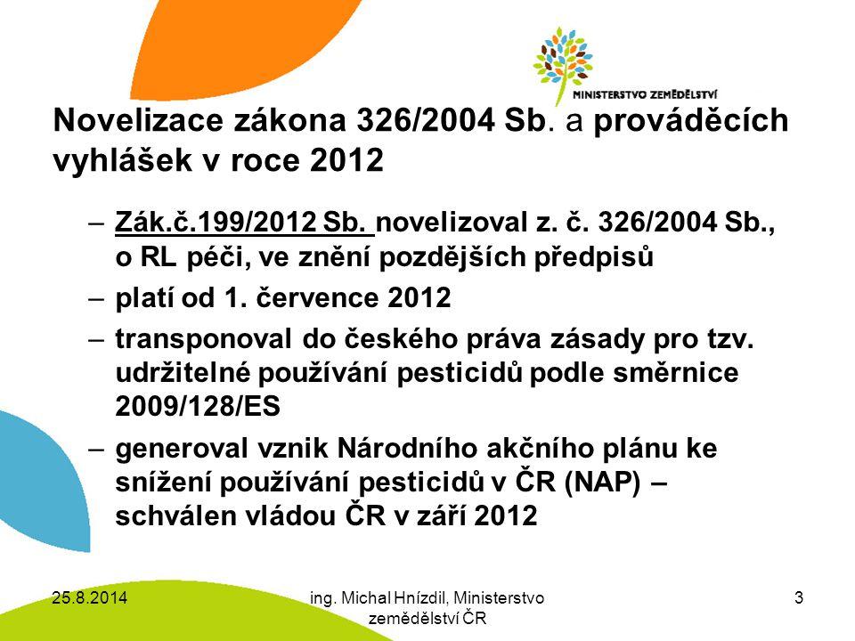 Novelizace zákona 326/2004 Sb. a prováděcích vyhlášek v roce 2012