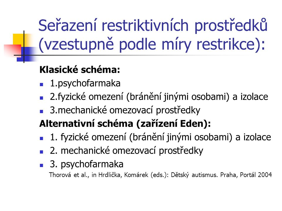 Seřazení restriktivních prostředků (vzestupně podle míry restrikce):