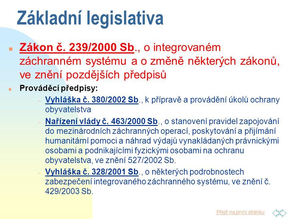 Základní legislativa Zákon č. 239/2000 Sb., o integrovaném záchranném systému a o změně některých zákonů, ve znění pozdějších předpisů.