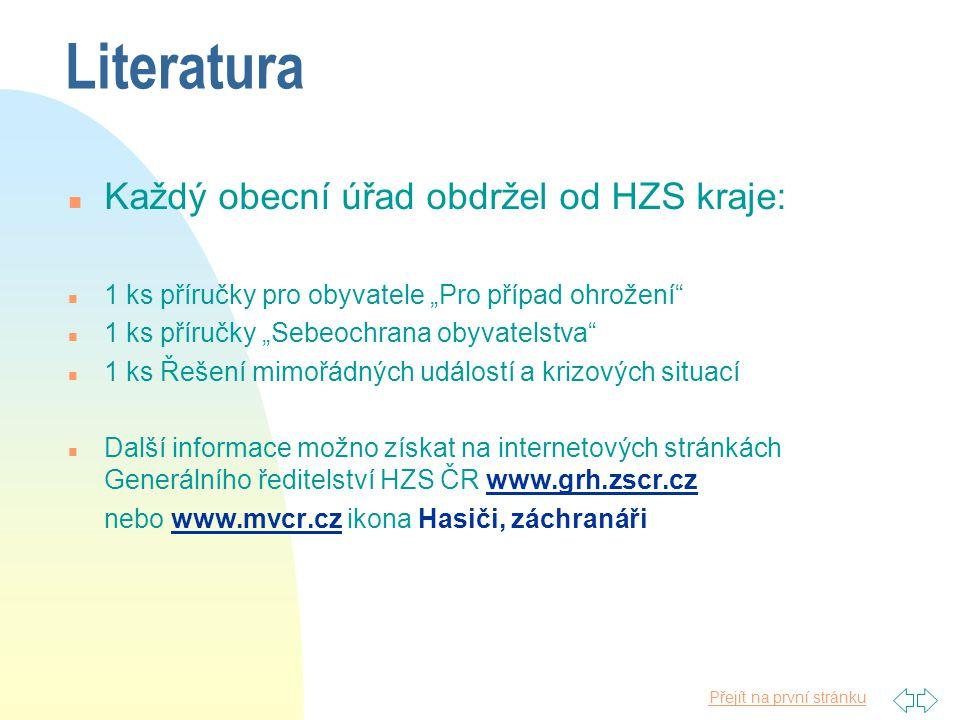 Literatura Každý obecní úřad obdržel od HZS kraje: