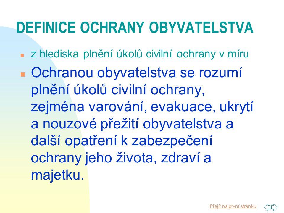 DEFINICE OCHRANY OBYVATELSTVA