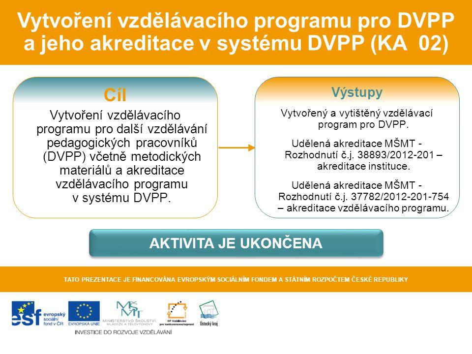 Vytvořený a vytištěný vzdělávací program pro DVPP.