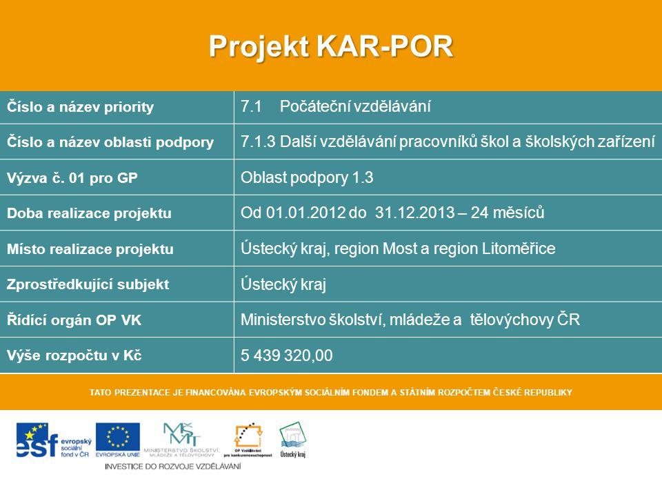 Projekt KAR-POR 7.1 Počáteční vzdělávání