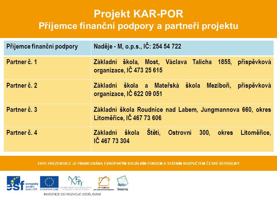 Projekt KAR-POR Příjemce finanční podpory a partneři projektu
