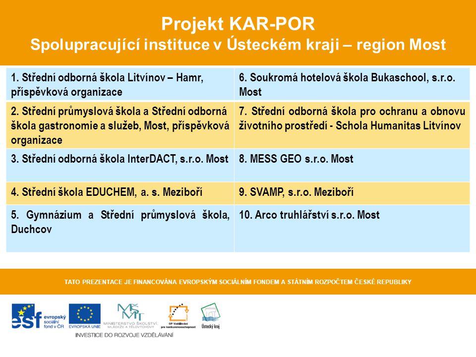 Projekt KAR-POR Spolupracující instituce v Ústeckém kraji – region Most