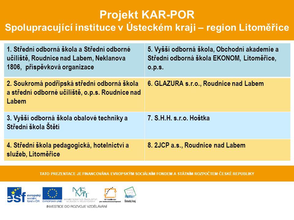 Projekt KAR-POR Spolupracující instituce v Ústeckém kraji – region Litoměřice