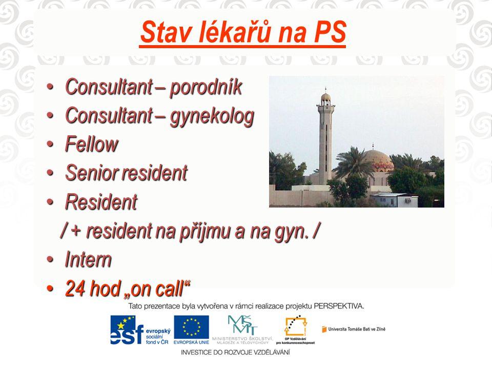Stav lékařů na PS Consultant – porodník Consultant – gynekolog Fellow
