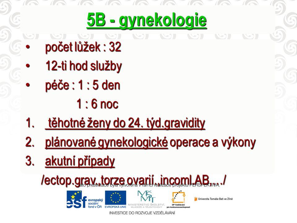 5B - gynekologie počet lůžek : 32 12-ti hod služby péče : 1 : 5 den