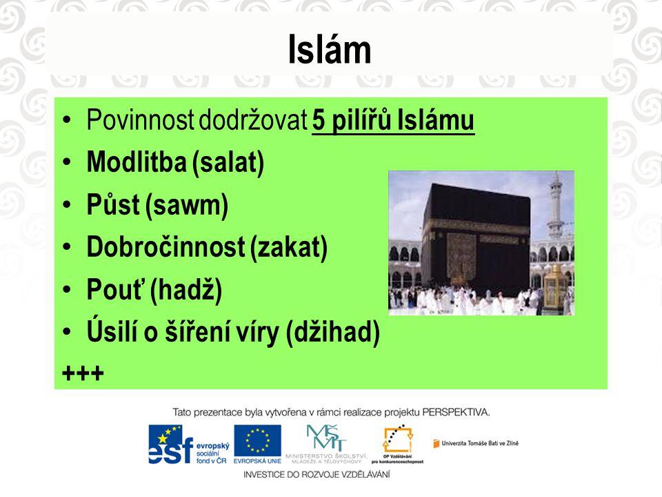 Islám Povinnost dodržovat 5 pilířů Islámu Modlitba (salat) Půst (sawm)