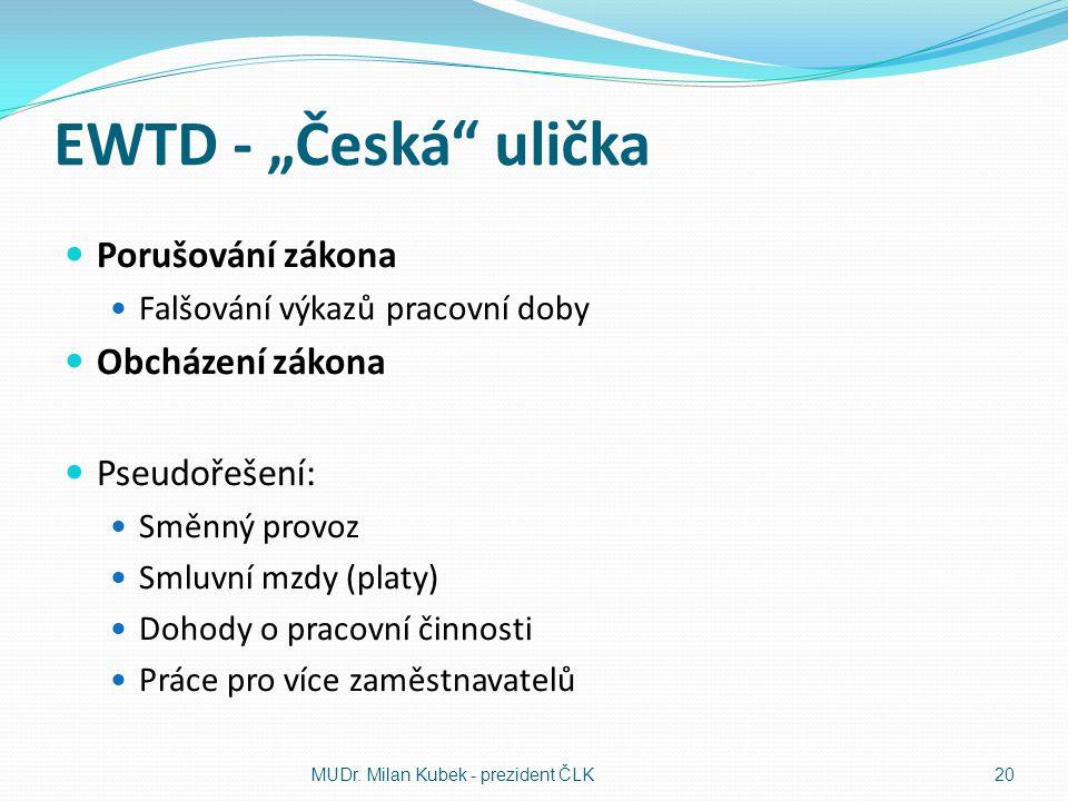 """EWTD - """"Česká ulička Porušování zákona Obcházení zákona Pseudořešení:"""