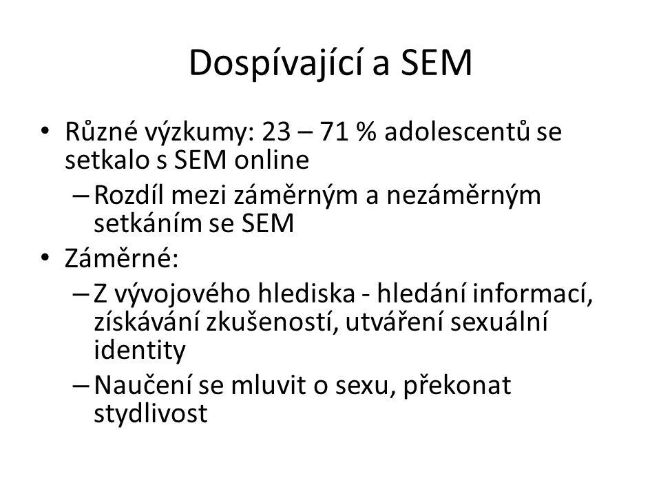 Dospívající a SEM Různé výzkumy: 23 – 71 % adolescentů se setkalo s SEM online. Rozdíl mezi záměrným a nezáměrným setkáním se SEM.