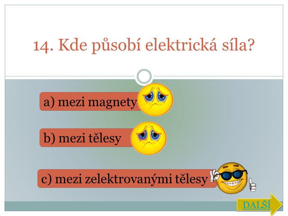 14. Kde působí elektrická síla