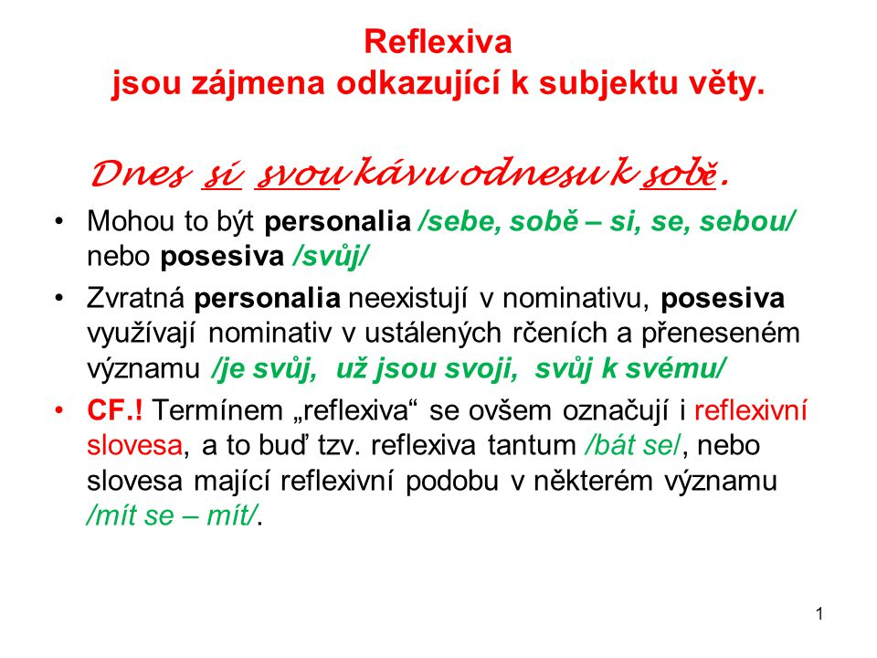 Reflexiva jsou zájmena odkazující k subjektu věty.