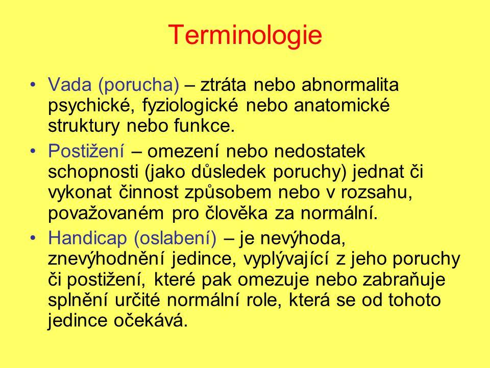 Terminologie Vada (porucha) – ztráta nebo abnormalita psychické, fyziologické nebo anatomické struktury nebo funkce.