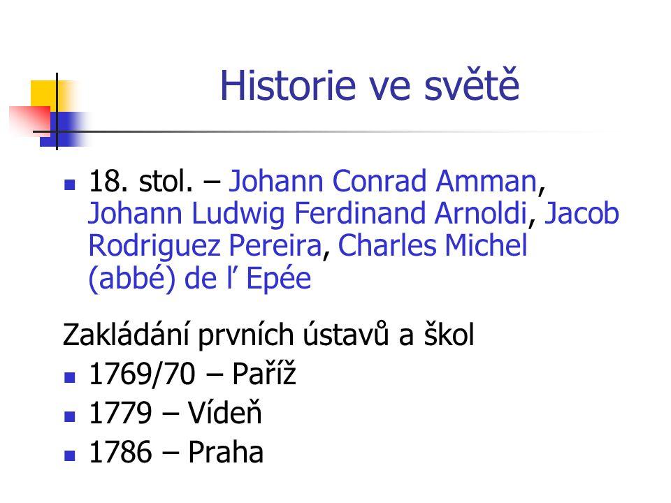 Historie ve světě 18. stol. – Johann Conrad Amman, Johann Ludwig Ferdinand Arnoldi, Jacob Rodriguez Pereira, Charles Michel (abbé) de ľ Epée.