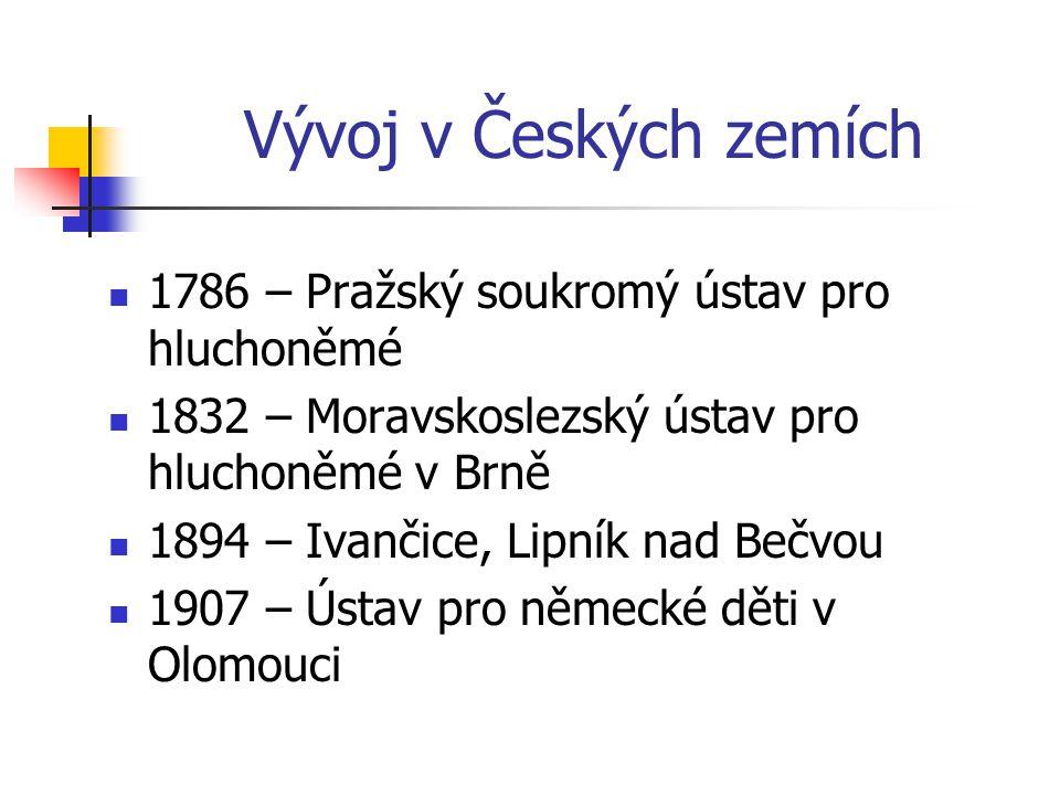 Vývoj v Českých zemích 1786 – Pražský soukromý ústav pro hluchoněmé