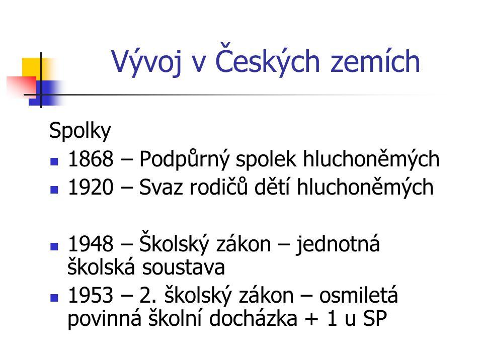 Vývoj v Českých zemích Spolky 1868 – Podpůrný spolek hluchoněmých