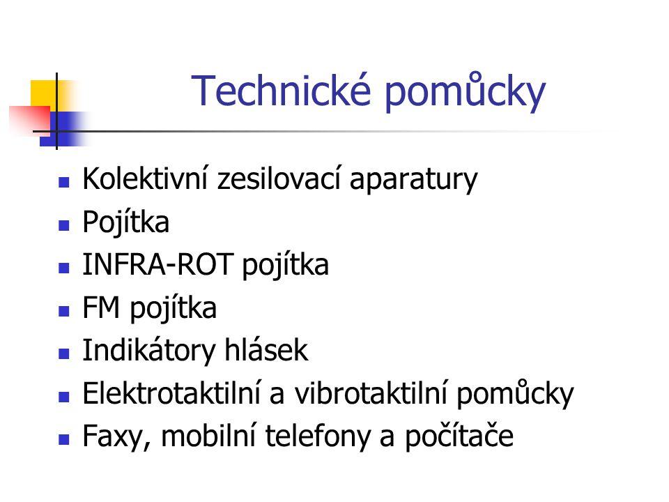 Technické pomůcky Kolektivní zesilovací aparatury Pojítka